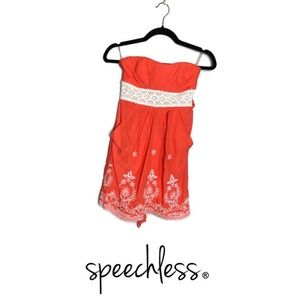 Speechless Coral & Lace Strapless Dress Embroidery